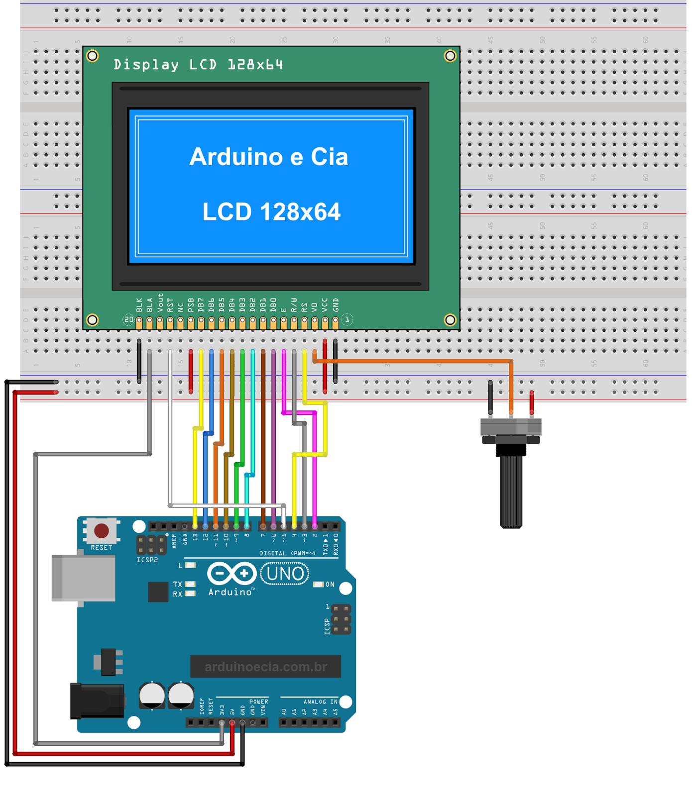 Display gráfico LCD 128x64 ST7920 em modo 8 bits (paralelo