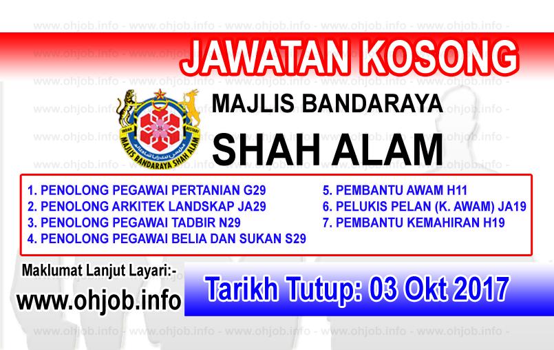 Jawatan Kerja Kosong MBSA - Majlis Bandaraya Shah Alam logo www.ohjob.info oktober 2017