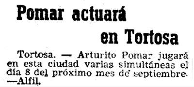 Arturo Pomar en El Mundo Deportivo, 21/8/1946