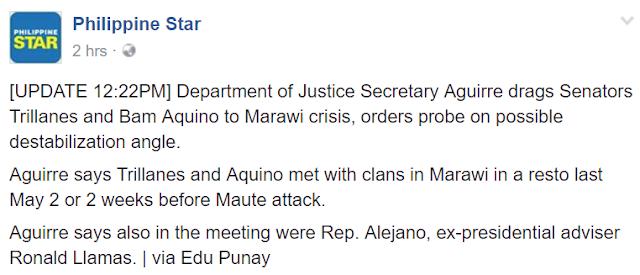 DOJ Secretary Aguirre drags Senators Trillanes and Bam Aquino to Marawi crisis