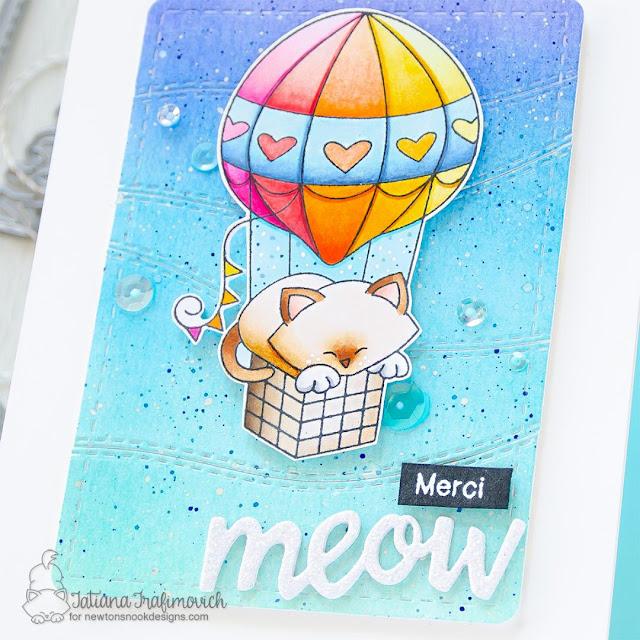 Merci Meow Card by Tatiana Trafimovich | Newton Dreams of Paris Stamp Set, Frames & Flags Die Set, Land Borders Die Set, and Pawprint Shaker Die Set by Newton's Nook