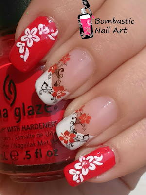 Red Flower Nail Art with Water Decals