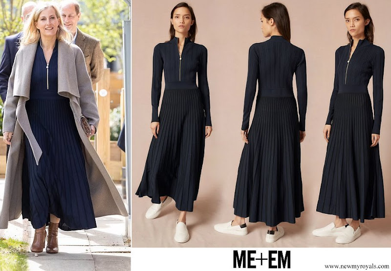 The Countess of Wessex wore a new pearl zip navy knitted pleat dress from ME+EM
