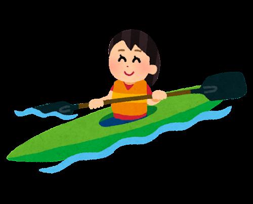 カヌーに乗る人のイラスト(女性)