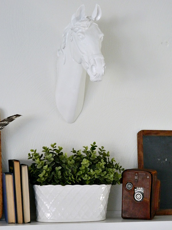 Create a Meaningful Spring Mantel with faux horse head taxidermy, wood, succulents, books, and feathers for spring.