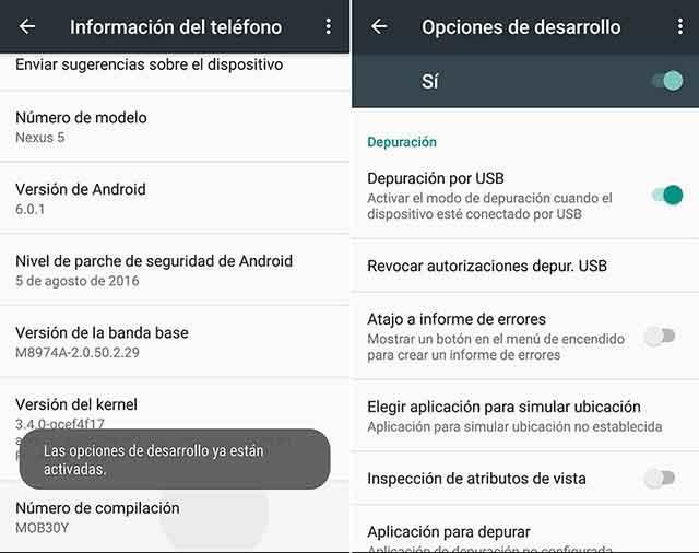 habilitar la depuración USB en Android 4.2, 4.4, 5.0, 5.1, 6.0, 6.1 y superior