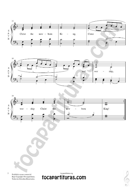 hoja 2 Partitura JPG gratis de Angels we have heard on high  Coro a cuatro voces SATB letra en inglés Choral SATB Sheet Music for 4 voice (soprano, alto, tenor, baritone)