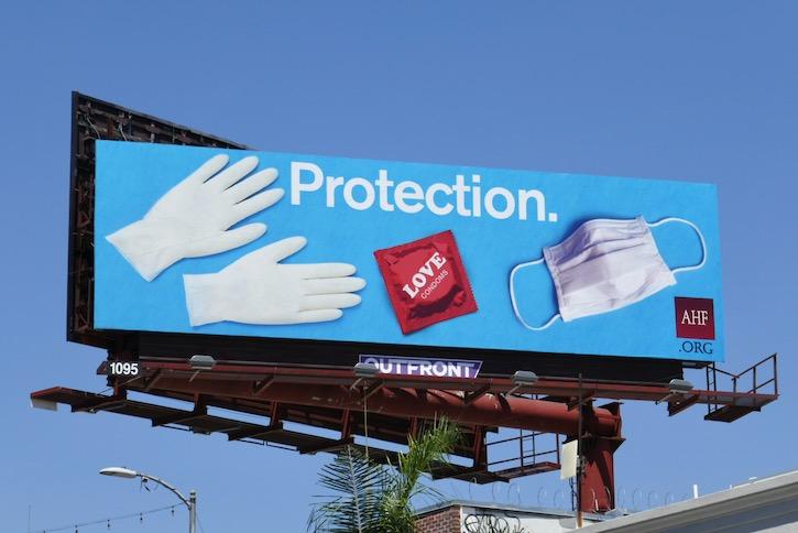 Gloves Condom Mask Protection AHF billboard