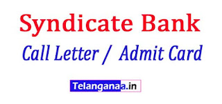 Syndicate Bank Probationary Officer (PO) Call Letter /  Admit Card 2017