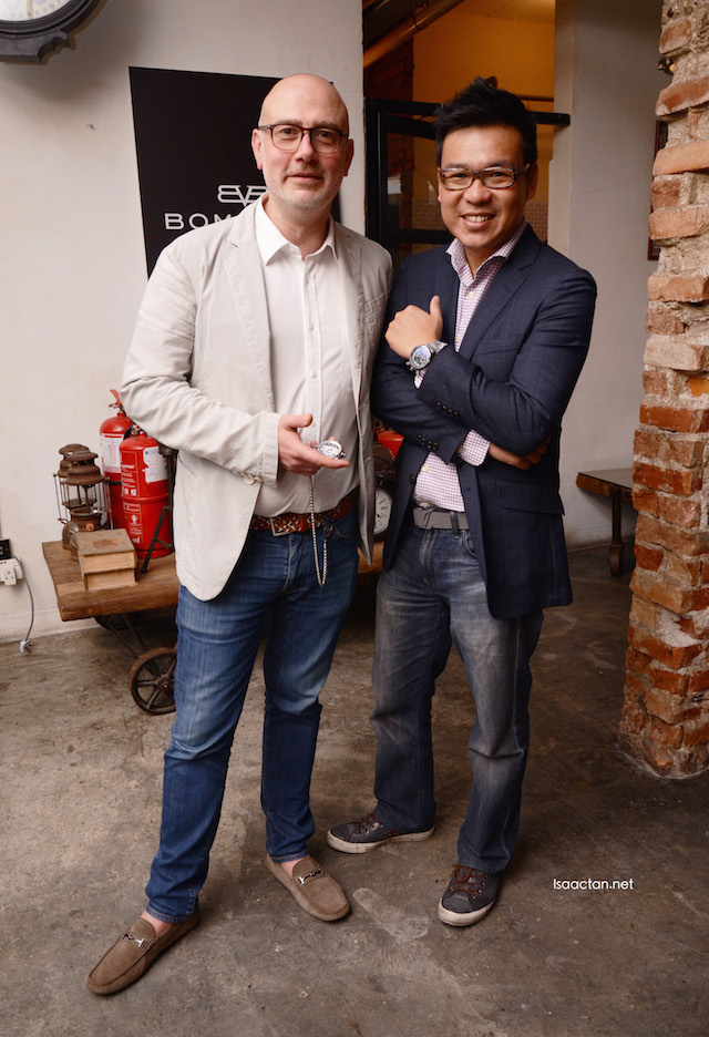 The two main guys, Giancarlo Mantuano, CEO of BOMBERG, and Brian from Watatime Malaysia