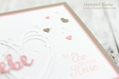 Stampinup; Hochzeitskarte; Hochzeitskarte basteln; Karte mit Herzen; Stempelparty Hochzeit; Hochzeitsideen; Stempel-biene; Stampinup Winterkatalog 2017