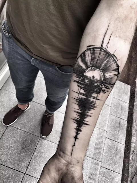 Guitar Music Tattoo On Left Forearm