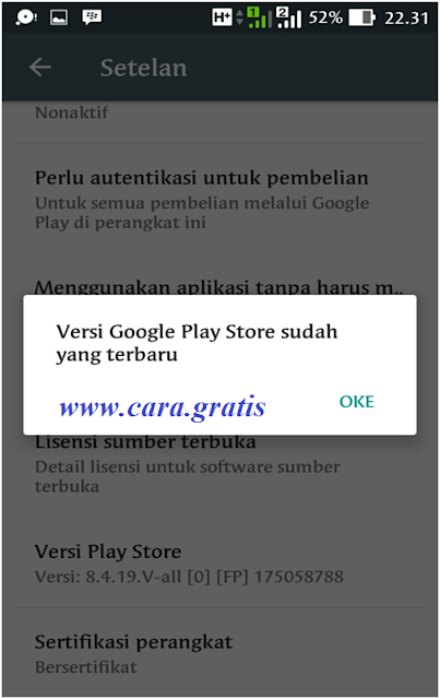 Memperbarui Play Store Sukses