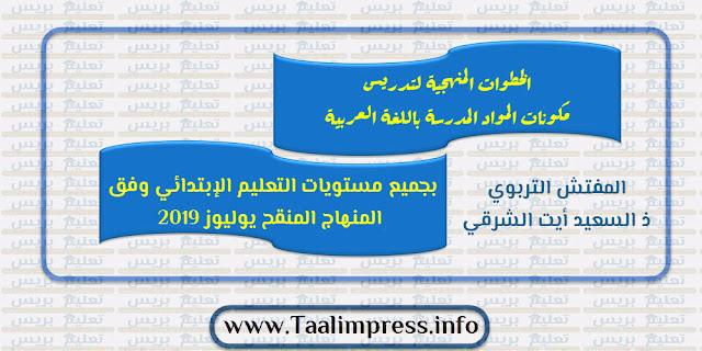 الخطوات المنهجية لجميع المواد المدرسة باللغة العربية بجميع مستويات التعليم الإبتدائي وفق المنهاج المنقح يوليوز 2019