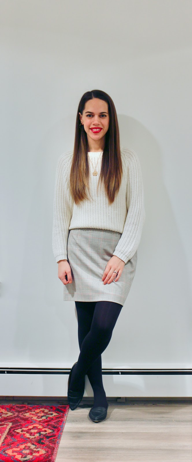 Jules in Flats - Plaid Mini Skirt with White Cropped Sweater (Business Casual Winter Workwear on a Budget)