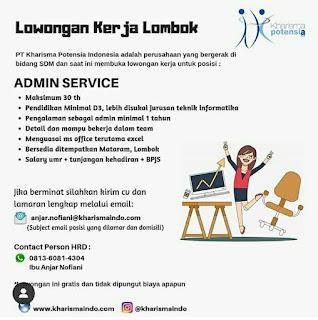 Info Lowongan Kerja Admin Service Kharisma Potensia Mataram Lombok