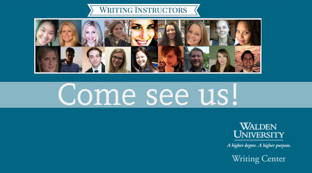 "This is an image of all the Writing Center instructors, with text that reads ""Come see us!"""