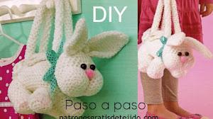 Patrones de bolso con forma de conejo a crochet 🐰 DIY