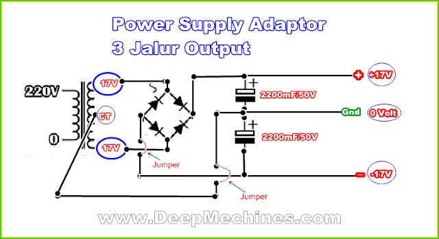 Power Stabilizer menggunakan LM 7815/7915
