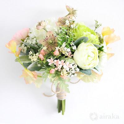 ラナンキュラスのブーケ(コーラルピンク)-ウェディングブーケと花髪飾りairaka