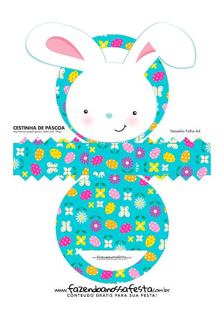 Cestas con Conejito de Pascua para Imprimir Gratis.