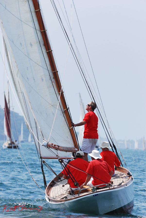 Gaffa day yacht race on Sydney harbour. Photography by Kent Johnson.