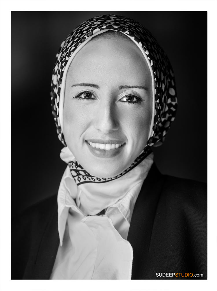 Professional Headshot for Middle Eastern Lady with Hijab SudeepStudio.com Ann Arbor Portrait Photographer