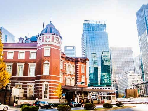 North end of Tokyo Station with Kitte Building in background, Tokyo, Japan.