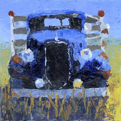 art painting vintage flatbed truck 1936 Ford Abandoned