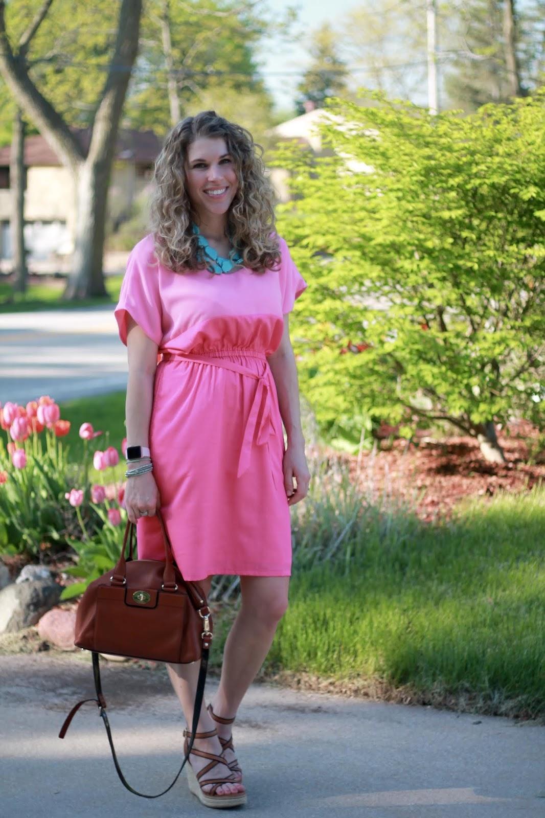 pink color block dress, turquoise necklace, wedges, cognac leather satchel