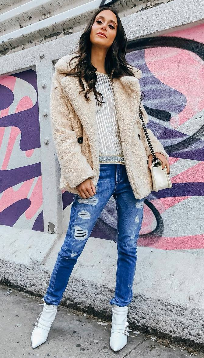 cool outfit to copy this fall / nude fur jacket + bag + top + rips + white boots