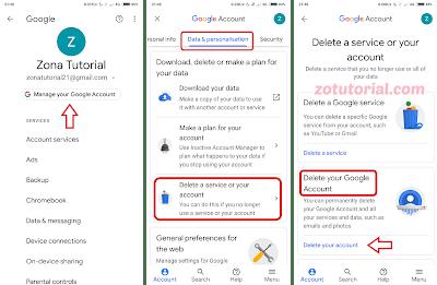 Tutorial Hapus Akun Gmail Google Secara Permanen di Android - 2