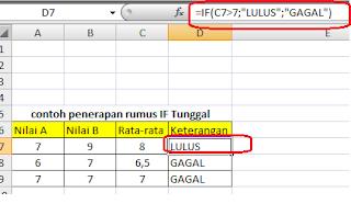 Fungsi Rumus IF Tunggal Microsoft Excel