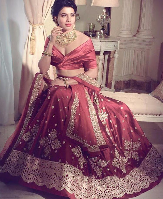 Samantha Wearing an Anushree Reddy Lehenga