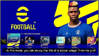 Download eFootball 2022 PPSSPP Peter Drury Commentary New Kits 22 & Latest Transfers All Camera