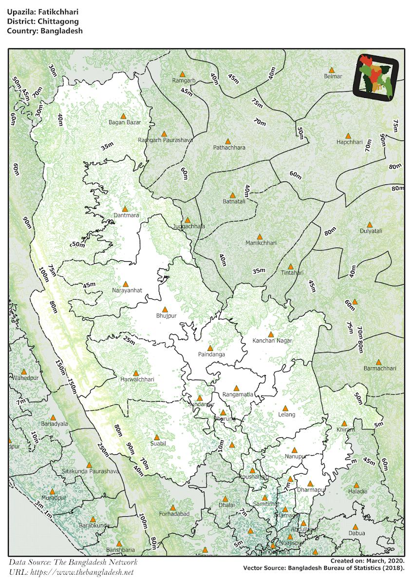 Fatikchhari Upazila Elevation Map Chittagong District Bangladesh