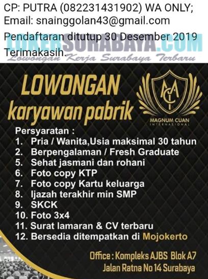 Loker Surabaya Terbaru Di Magnum Cuan November 2019 Lowongan Kerja Surabaya April 2021 Lowongan Kerja Jawa Timur Terbaru