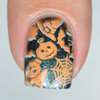 halloween nail art double stamping