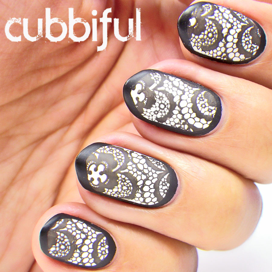 Black And White Matte Stamping Lace Nails