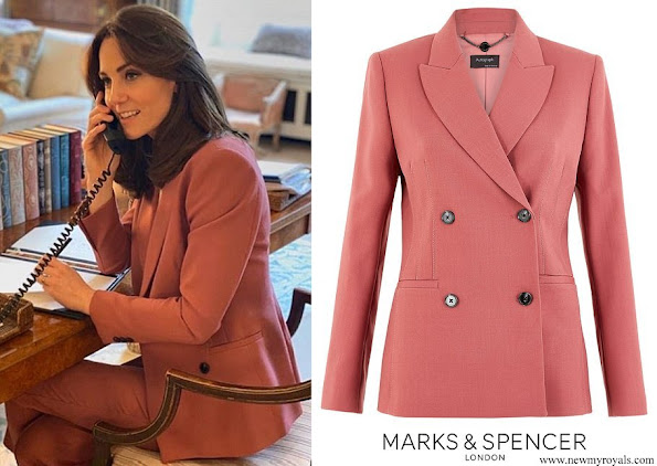 Kate Middleton wore Marks and Spencer Dark Rose Wool Blend Double Breasted Blazer