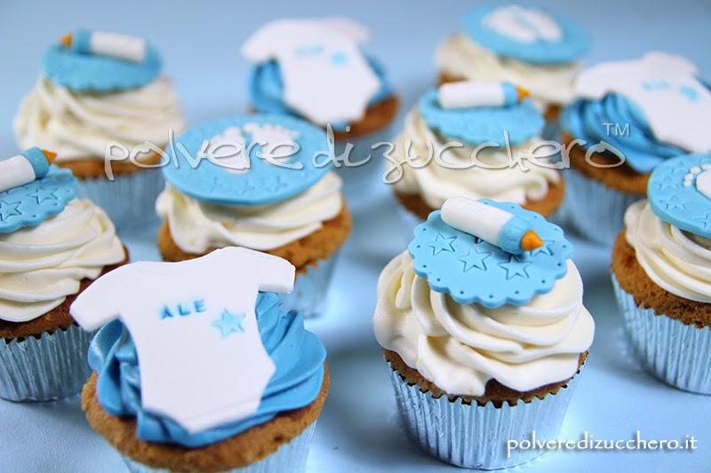 Cupcakes decorati beb biberon piedini e body polvere for Decorazioni torte vendita