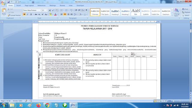 Contoh Promes PJOK Kelas 1 SD Semester 2 Kurikulum 2013 Revisi Terbaru