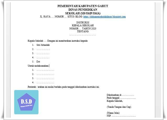 contoh format surat instruksi kepala sekolah terbaru