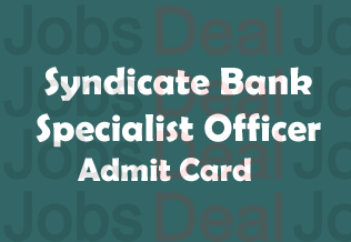 Syndicate Bank SO Admit Card 2017