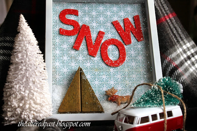 snow globe picture, mini vw bus, christmas decor