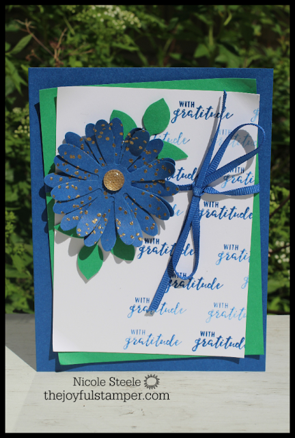 Blueberry Bushel 2018-2020 In Color card using Daisy and Leaf punches, Itty Bitty Greetings