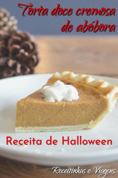 Esta torta doce cremosa de abóbora não é muito comum no Brasil, mas é um doce bem interessante para a época do Halloween