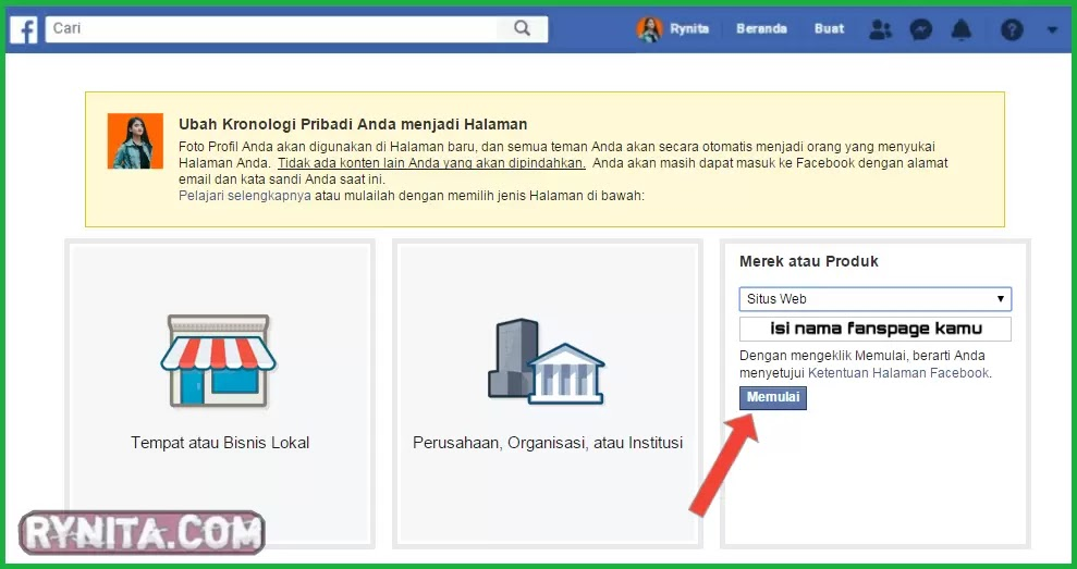 cara merubah facebook menjadi fanspage