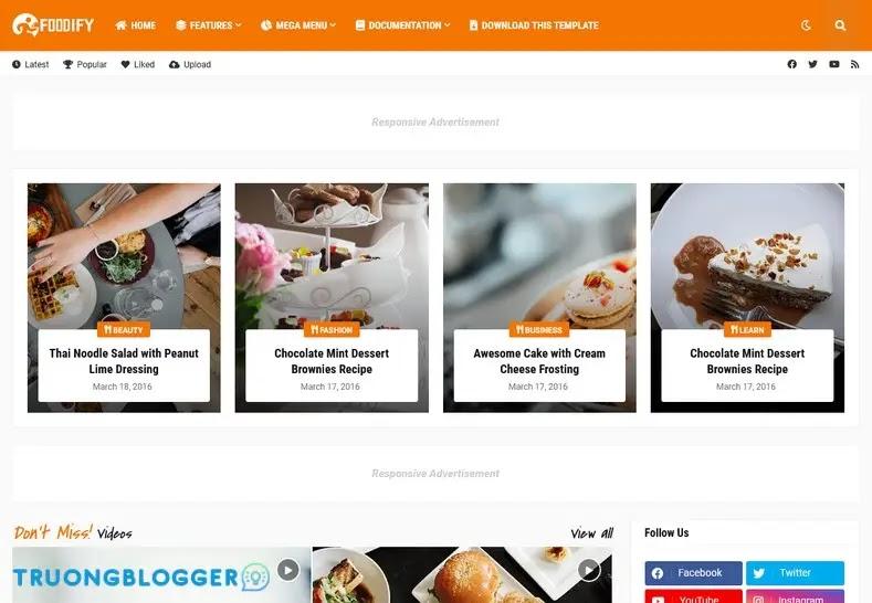 Foodify Premium Blogger Template - Elegant Food and Restaurant