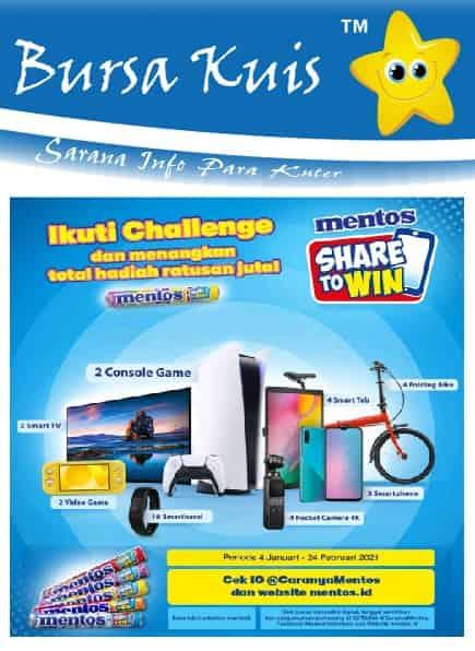 Kuis Online Terbaru 2021 - Challenge Share To Win Mentos